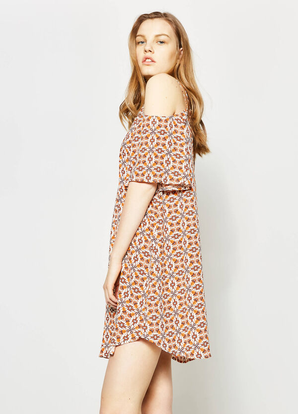 Dress with deep back and all-over print | OVS