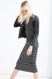 Leather look jacket with zip, Black, hi-res