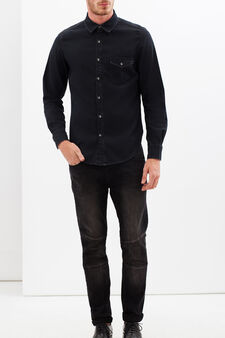 Plain shirt with pocket, Black, hi-res