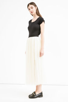 Long tulle skirt, Ecru, hi-res