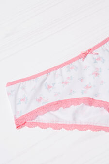Stretch cotton shorts with lace, White, hi-res