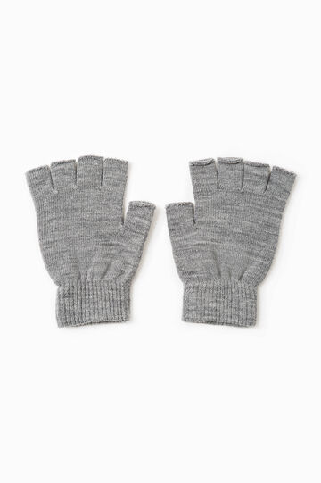 Fingerless gloves, Grey Marl, hi-res