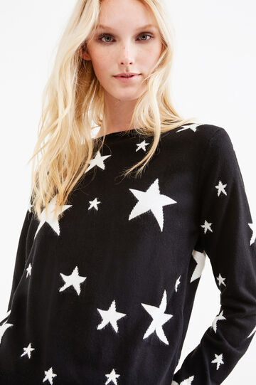 Knitted pullover with star pattern, Black/White, hi-res