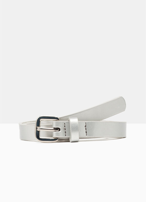 Faux leather belt with metal effect | OVS