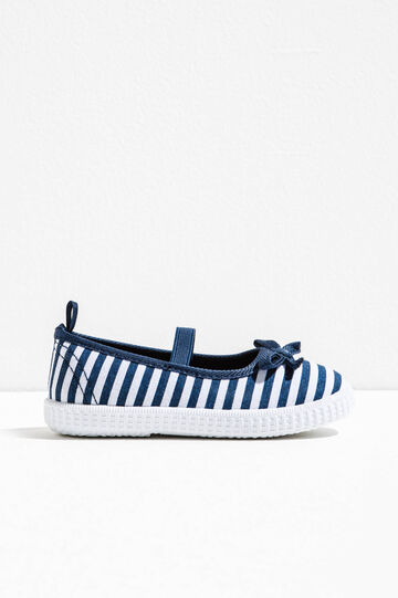 Patterned ballerina flats with elastic band, White/Cornflower Blue, hi-res