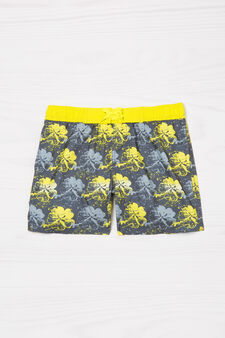 Printed swim boxer shorts with drawstring, Grey, hi-res