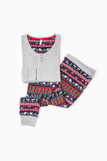 Patterned pyjamas with contrasting lining, Grey Marl, hi-res