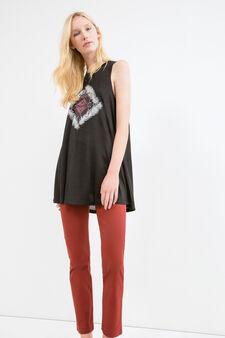 Viscose blend long vest top, Black, hi-res