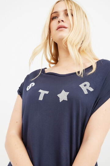 Curvy solid colour T-shirt with diamantés, Blue, hi-res