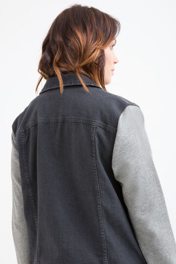 Curvy faded denim jacket, Grey, hi-res