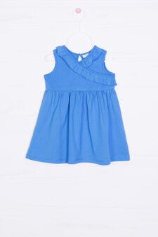 Vestitino puro cotone con volants, Blu royal, hi-res