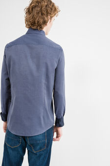 Slim-fit micro-polka dot casual shirt, Denim, hi-res