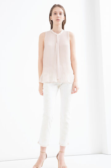 Pleated blouse with tie, Pink, hi-res