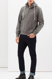 G&H viscose blend hoodie with pocket, Grey Marl, hi-res