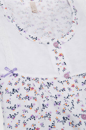 Cotton nightshirt with bows, White, hi-res
