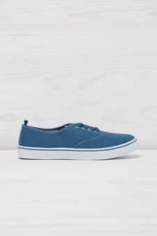 Solid colour lace-up sneakers, Cornflower Blue, hi-res