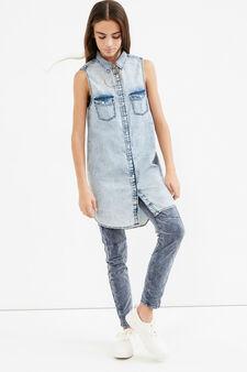 Camicia lunga jeans maltinto Teen, Denim, hi-res