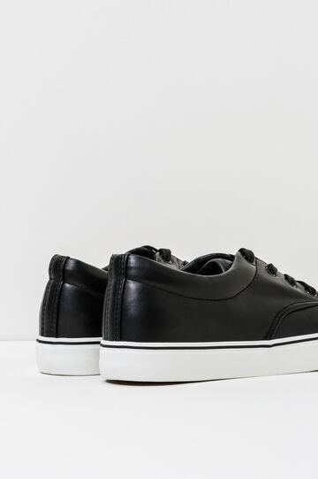 Sneakers con lacci tinta unita, Nero, hi-res
