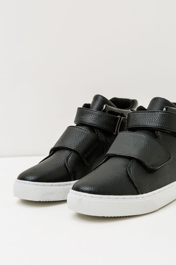 High-top sneakers with Velcro fastening, Black, hi-res