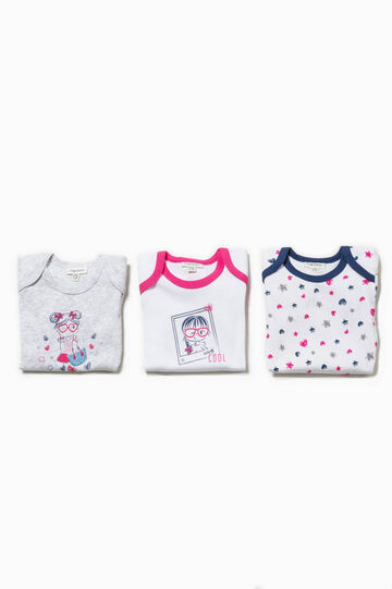 Set of three bodysuits with short sleeves, White/Grey, hi-res
