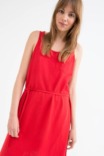Solid colour cotton sleeveless dress., Red, hi-res