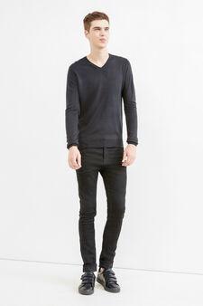 Solid colour V-neck pullover, Black, hi-res