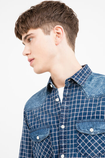 Casual check shirt with denim inserts, White/Blue, hi-res