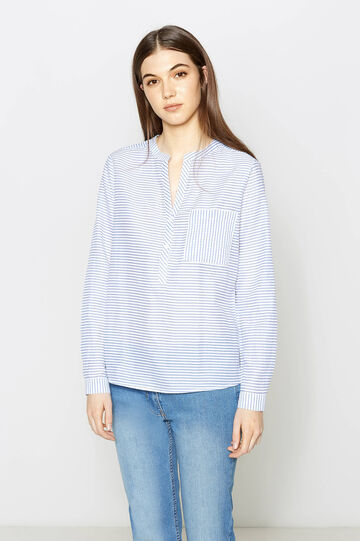 Striped shirt in 100% cotton, White/Light Blue, hi-res