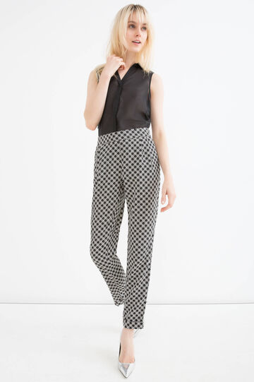 Trousers with pattern in contrasting colour., White/Black, hi-res