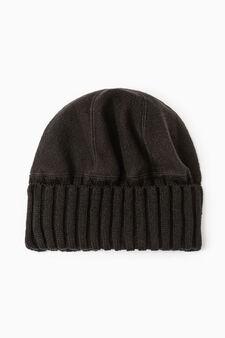 Cappello a cuffia pile e tricot, Nero, hi-res