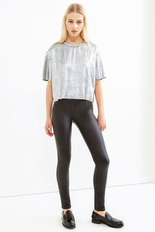 Glossy cropped T-shirt., Grey/Silver, hi-res
