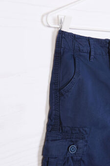 Solid colour 100% cotton Bermuda cargo shorts, Navy Blue, hi-res
