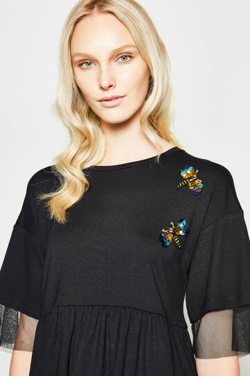 Flounced T-shirt with tulle and patches