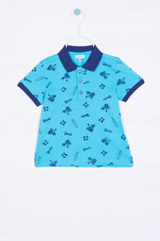 Patterned polo shirt in 100% cotton, Turquoise Blue, hi-res