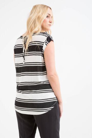 Curvy striped T-shirt in 100% viscose, White/Black, hi-res