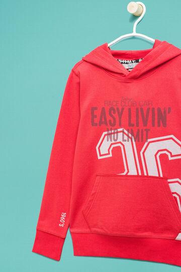 Sudadera con capucha y motivo de texto, Rojo claro, hi-res