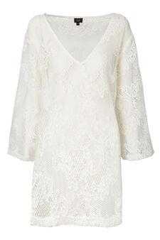 Solid colour V-neck lace kaftan, Cream White, hi-res