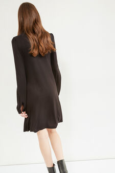Long-sleeved 100% viscose dress, Black, hi-res