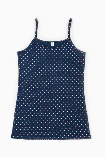 Stretch patterned undervest, Blue, hi-res