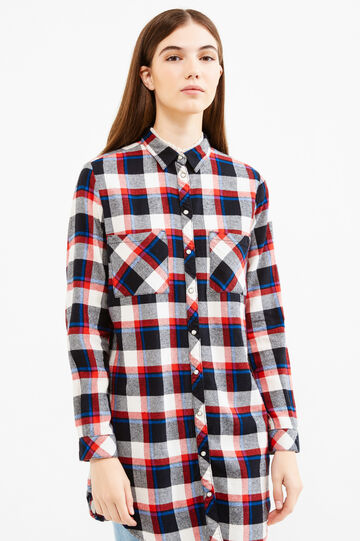 Long check shirt, Black/Red, hi-res