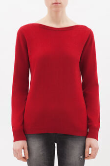 Cashmere and silk blend pullover, Red, hi-res