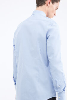 Slim fit check cotton shirt, Soft Blue, hi-res