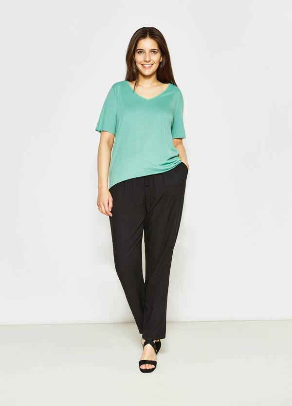 Curvy V-neck cotton T-shirt | OVS