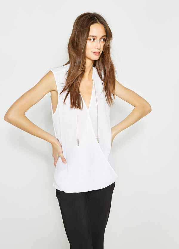 Sleeveless crossover blouse with pendants | OVS