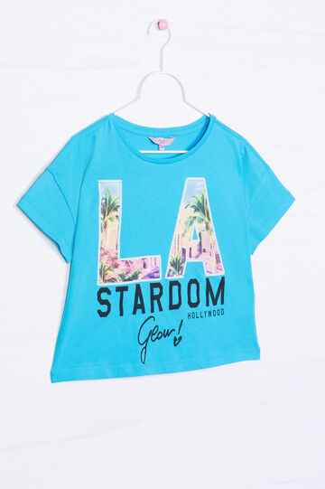 Printed crop T-shirt in 100% cotton, Turquoise Blue, hi-res