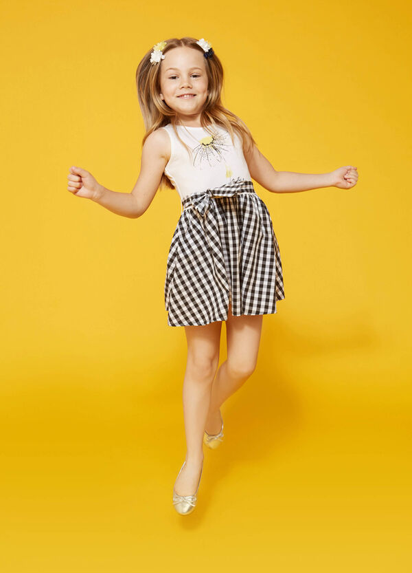 Printed dress with checked skirt | OVS