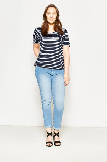 Curvy striped T-shirt with laces, White/Blue, hi-res