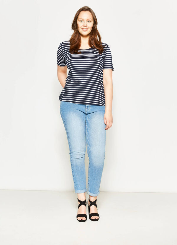 Curvy striped T-shirt with laces | OVS