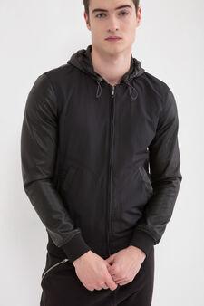 Solid colour hooded jacket., Black, hi-res
