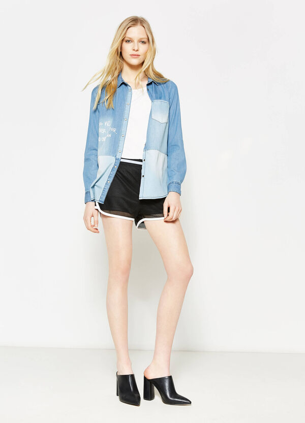 Openwork shorts with patch | OVS